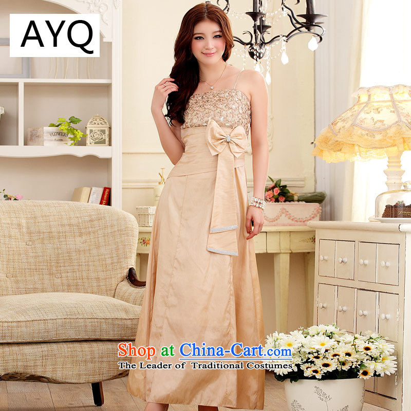 Hiv has elegant and well refined qi lace water drilling Sau San gown?3419-1??XXXL champagne color