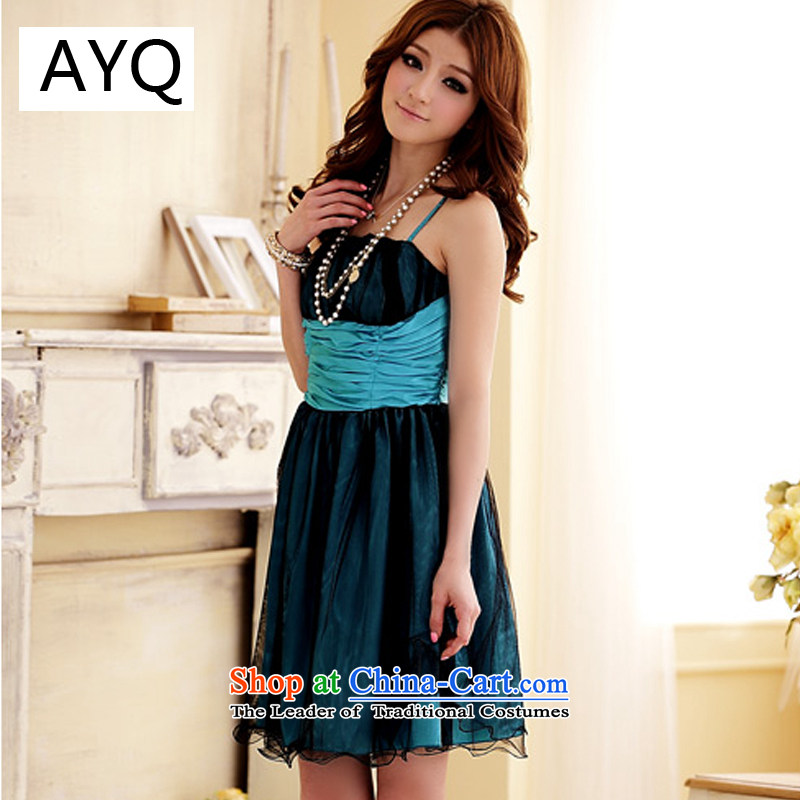 Hiv has been Qi Sweet Dreams mini ceramic double gauze strap dress dresses�3405-1�blue�XXL