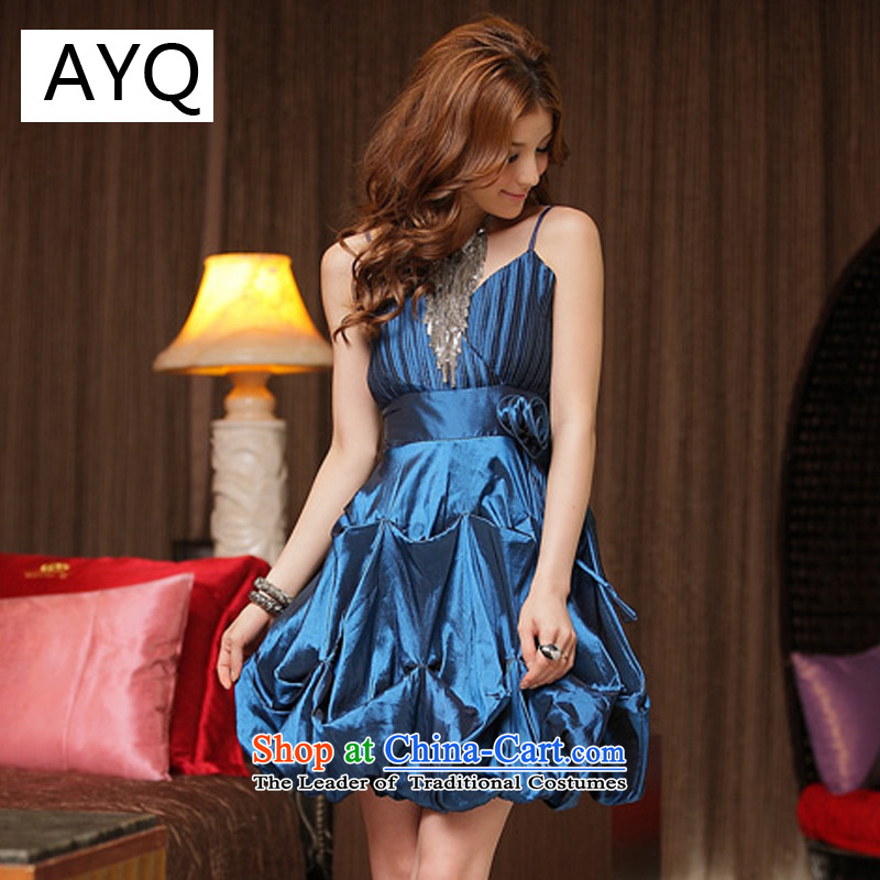 Hiv has been qi sweet aristocratic pressure folds lanterns dresses�8348-1��XXXL blue