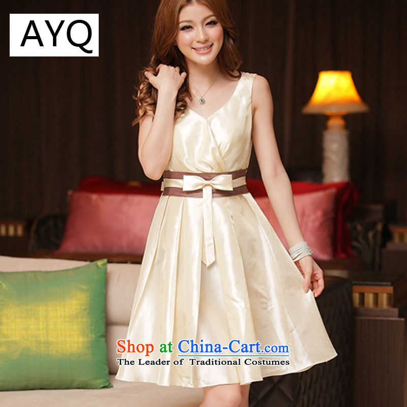 Hiv has been qi spring and summer aristocratic stylish V-Neck spell color dress dresses?8223-1?champagne color?S