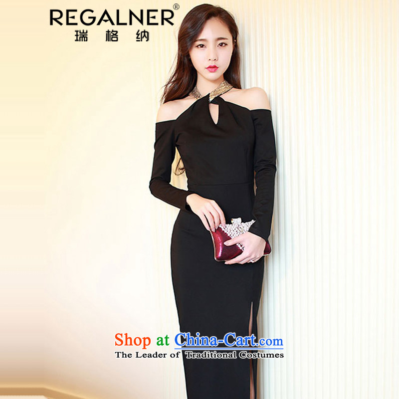 Rui, 2015 Fall/Winter Collections Of new women's sexy aristocratic hanging in the air also long-sleeved bare shoulders of the forklift truck and sexy women's night package and dresses dress long skirt black S