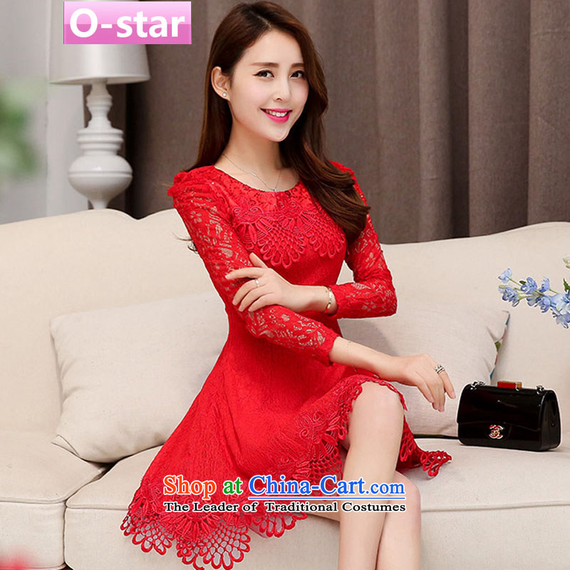 The spring and summer of 2015 New o-star, bridal dresses marriage dresses lace red packets, bows to shoulder short dress evening dresses betrothal service female Red 2 L