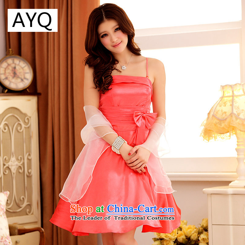 Hiv has been qi summer chic moving the bow knot Victoria foutune straps large dress dresses 3201-1 orange XXL