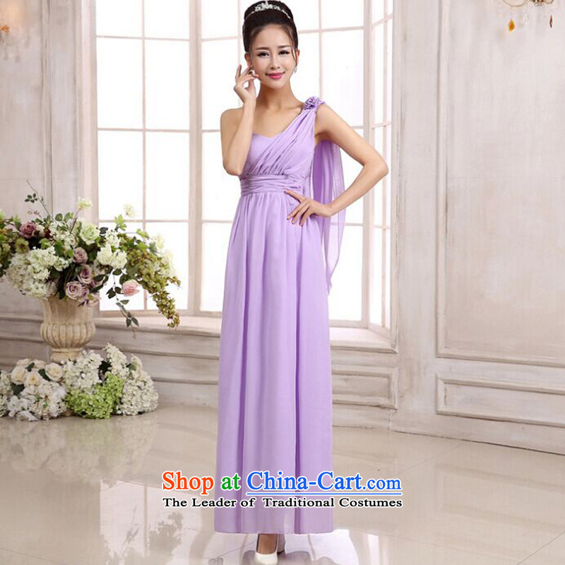 158 and the 2015 Korean version long version bridesmaid sister goddesses shoulder chiffon Sau San long skirt celebration small dress code is purple? F