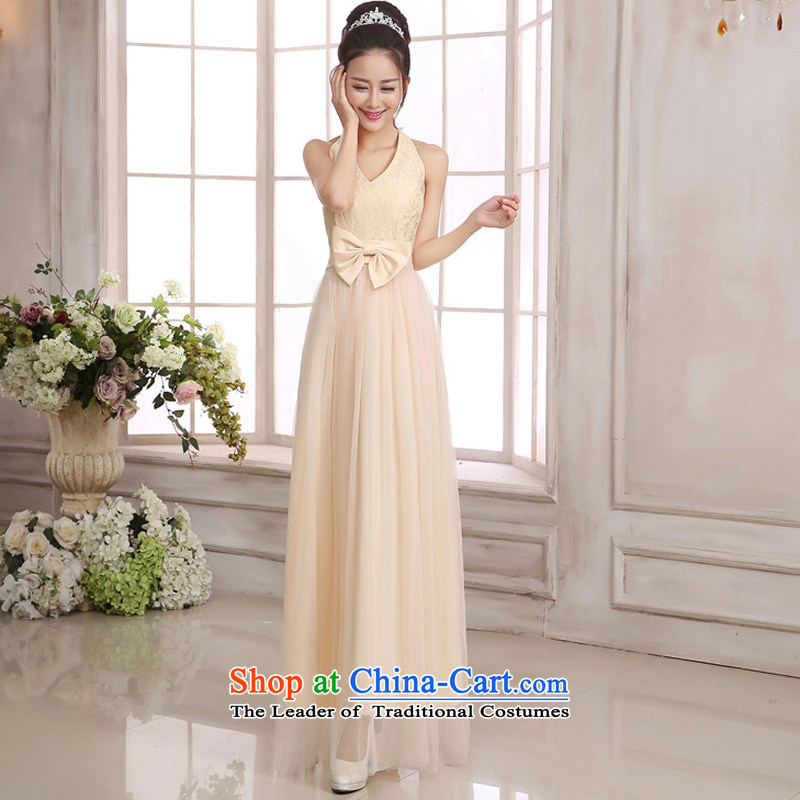 158 and the 2015 Korean elegance and sexy large V-Neck back up large waist bow tie lace spell gauze long festival gathering of dress depending on service small bridesmaid champagne color codes are� F