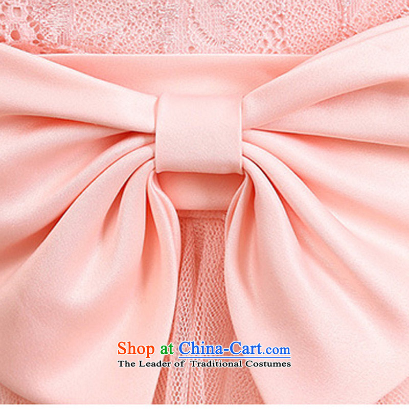 158 and the 2015 Korean elegance and sexy large V-Neck back up large waist bow tie lace spell gauze long festival gathering of dress depending on service small bridesmaid champagne color code聽 F,JK2.YY,,, are shopping on the Internet