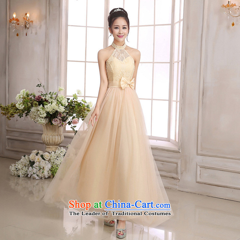 The Korean version of the goddess van 2015 temperament Sin-wai neck back bare shoulders pink dresses bride evening small festivals show long version of the dresses champagne color codes are聽 F
