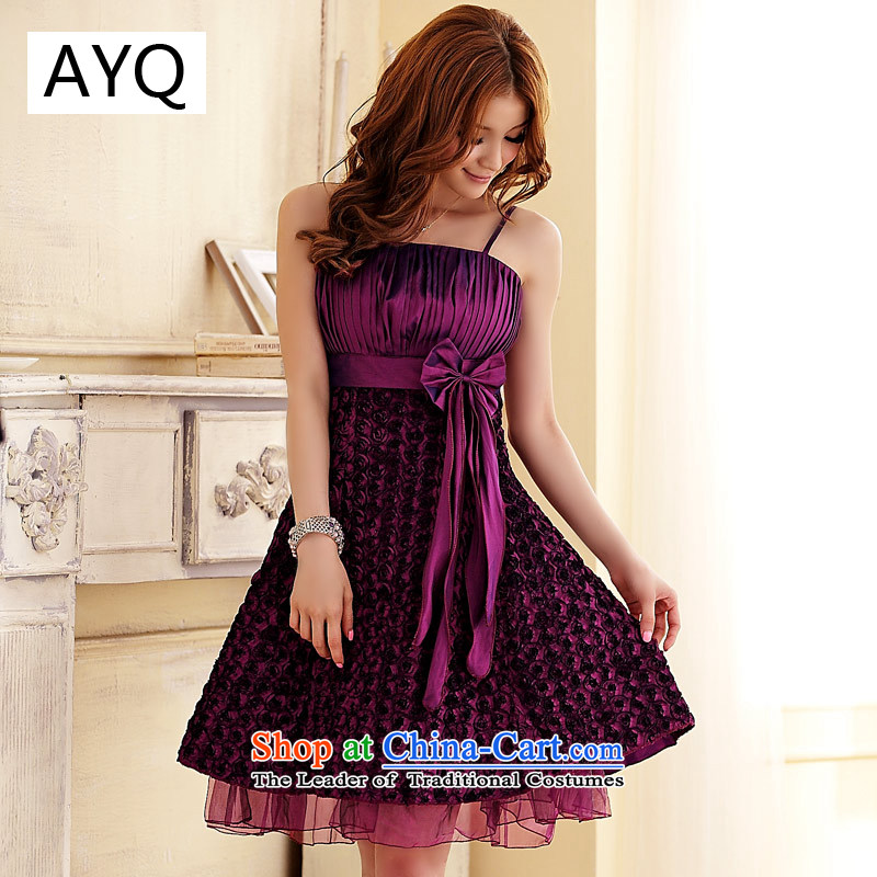 Hiv has been manually car flower palace Qi Chin Rosette upscale dress dresses?3110-1?purple?XL