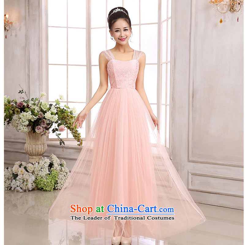 158 and the 2015 Korean fashion princess shoulders gauze lace long high waist dress goddess Sau San temperament bridesmaid sister skirt annual performance evening dresses pink are Code聽 F