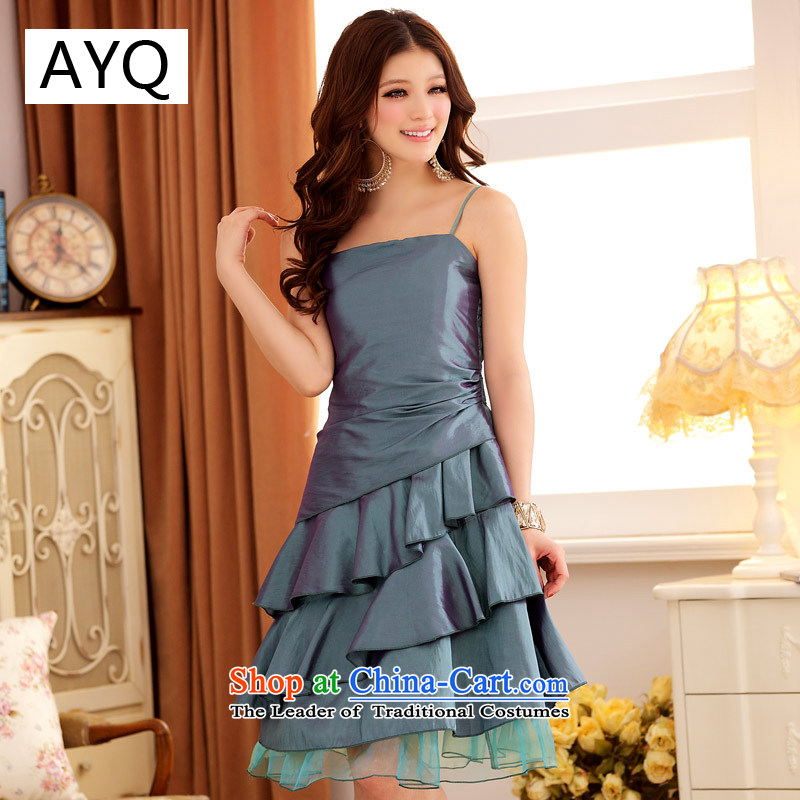 Hiv has been qi summer dumping city color niba gauze strap dress dresses?3100-1??XXXL green