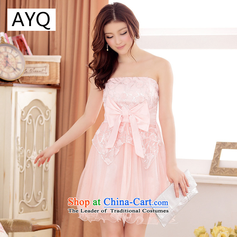 Hiv has been qi spring and summer quality net bow tie video thin flower dress dresses�3118-1�pink�XL