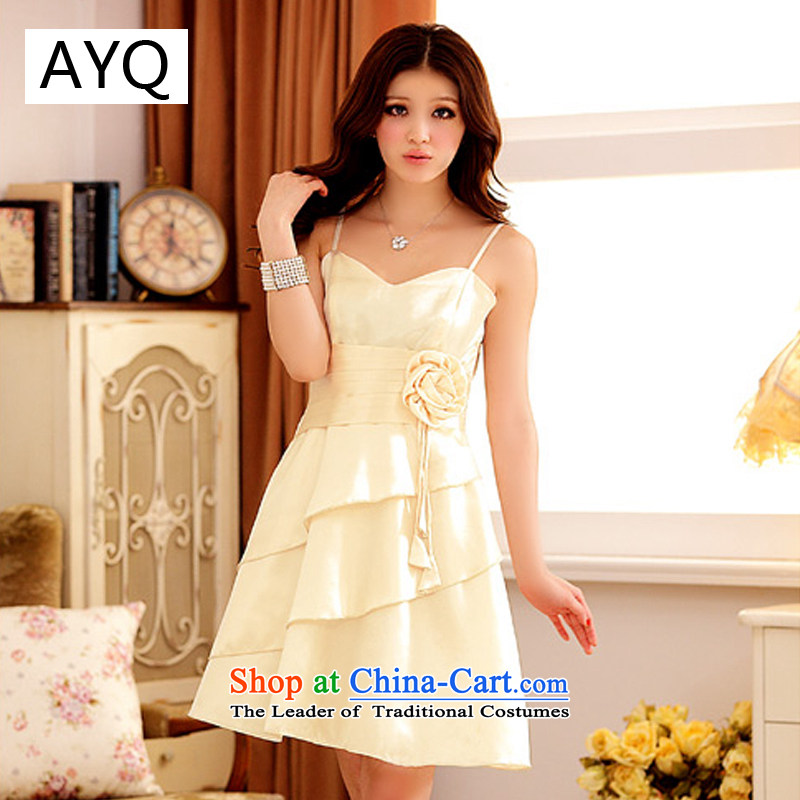 Hiv has been qi summer sweet elegant niba strap dress dresses?3101-1?champagne color?XXL