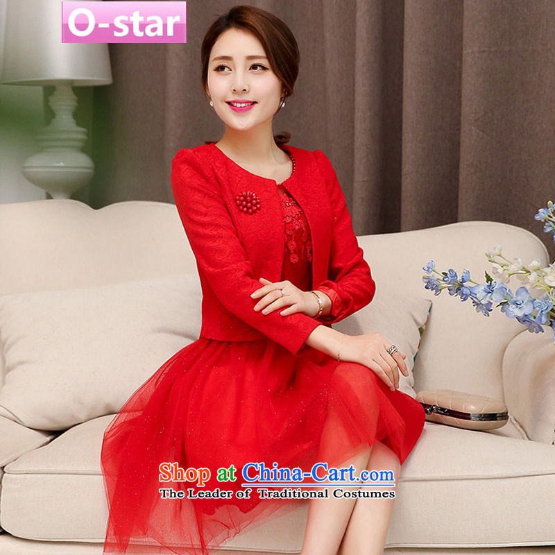 ?Two kits o-star dresses dress in spring and autumn 2015 new stylish look like two kits bride wedding dress red 1 XXL