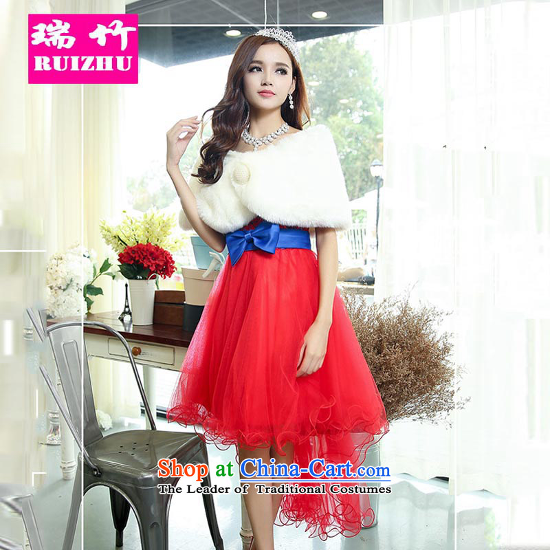 Rui Zhu Wedding 2015 new front stub long after marriages dovetail with chest dress Dress Short, sister bon bon skirt red with Blu?M