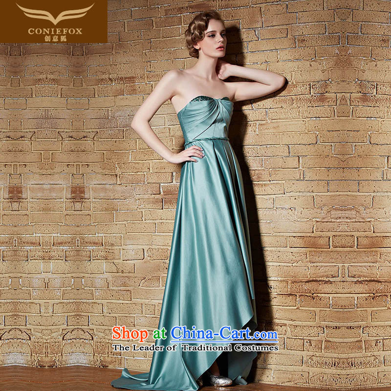 Creative New 2015 FOX evening dresses long high-waist dress wiping the chest and sexy evening dress banquet performances dress tail dress long skirt 30892 green S