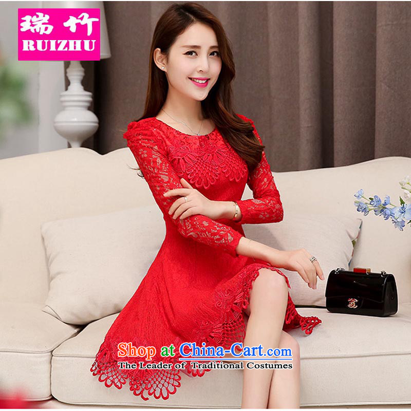 Rui Zhu�2015 new bows services marriages wedding fashion summer short of red double-shoulder dress lace video thin red�L