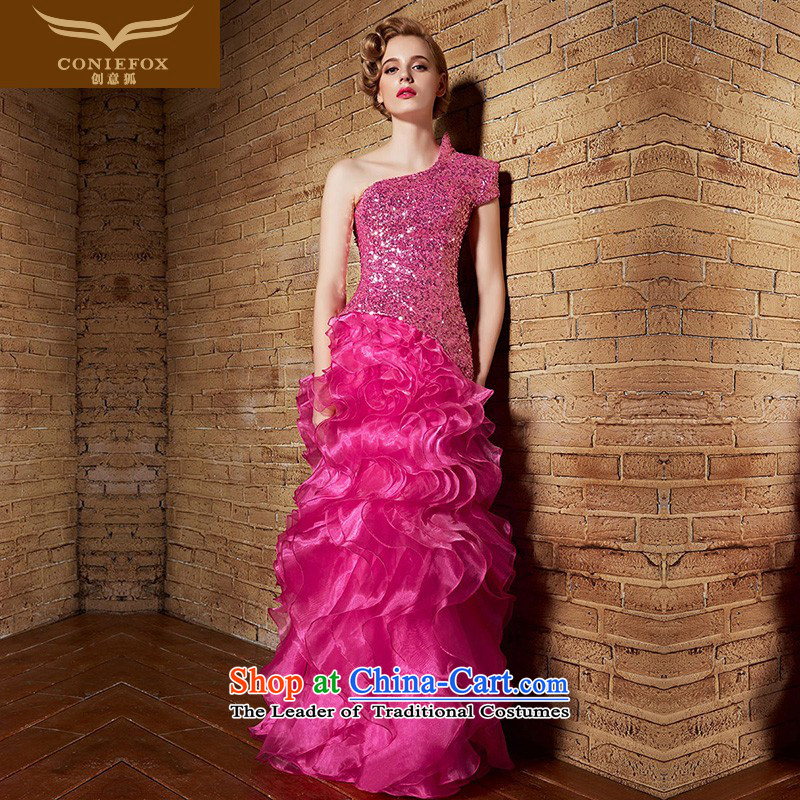 Creative?New 2015 FOX evening dresses red wedding dresses and sexy shoulder dress uniform bridesmaid dresses bows long evening cake skirt 30862 Female rose red?XL