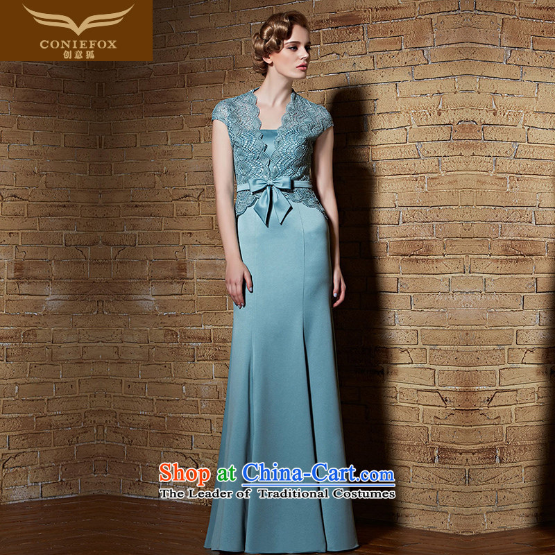 Creative Fox evening dress stylish two kits lace shawl dress elegant anointed chest long gown exhibition under the auspices of the annual concert dress long skirt 30896 S