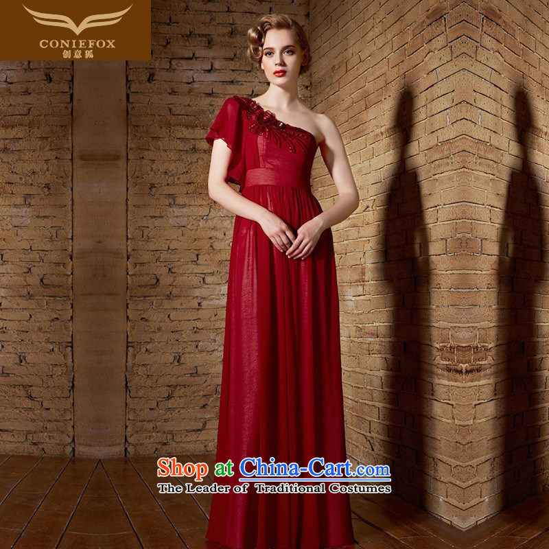 Creative Fox evening dresses聽2015 new red sexy shoulder dress wedding dress long evening dress evening banquet bows service long skirt 30891 Red聽S