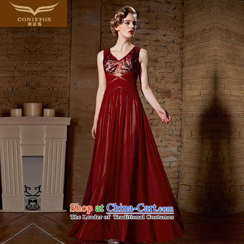 Creative Fox evening dresses�2015 New Product Red Dress bows service banquet long high-lumbar video thin chaired dress wedding dress wedding dress 30,900 deep red�L