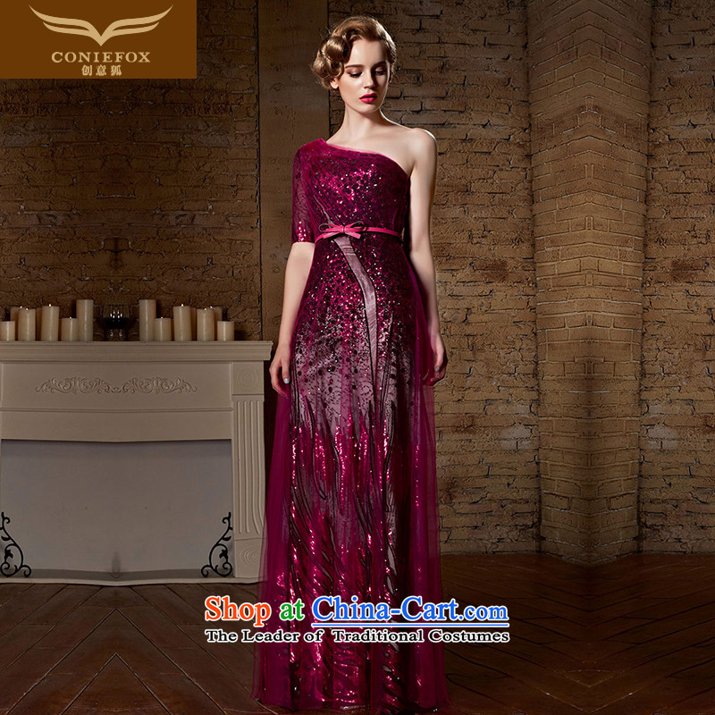 Creative New 2015 Fox banquet evening dresses red bows services Sleek and Sexy shoulder dress long skirt bridal dresses wedding dress 30921 Red?L