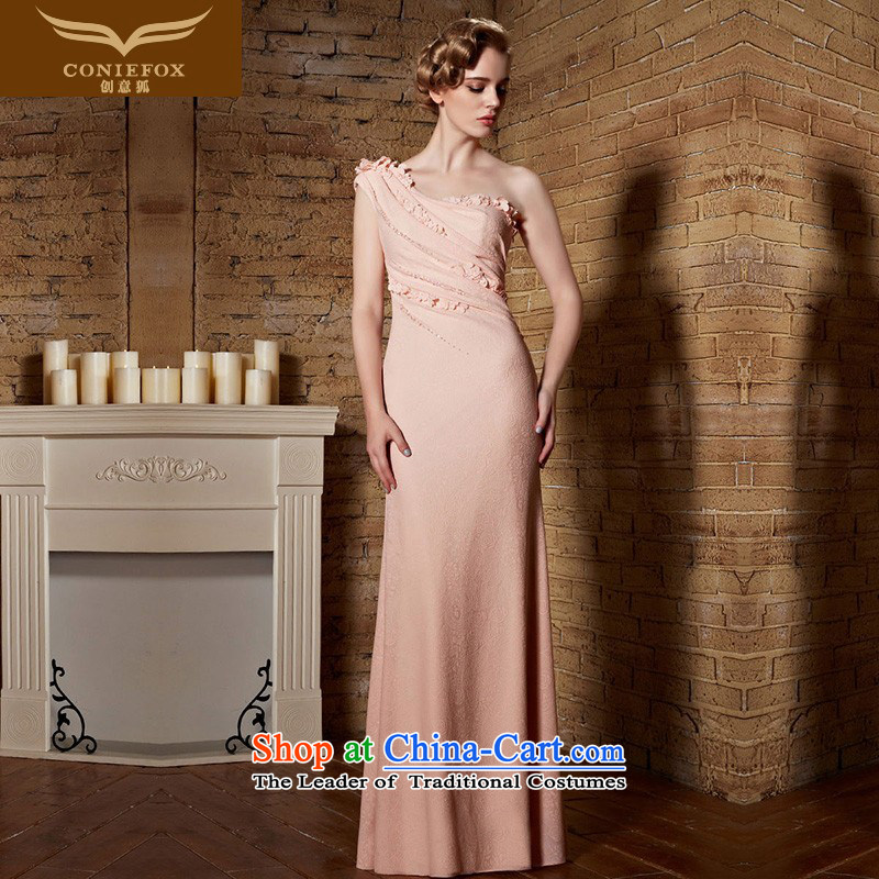 Creative Fox evening dresses evening dresses pink shoulder bridesmaid dress long skirt long gown Top Loin of bows services video thin bride wedding dress hospitality services 82153 rose?M