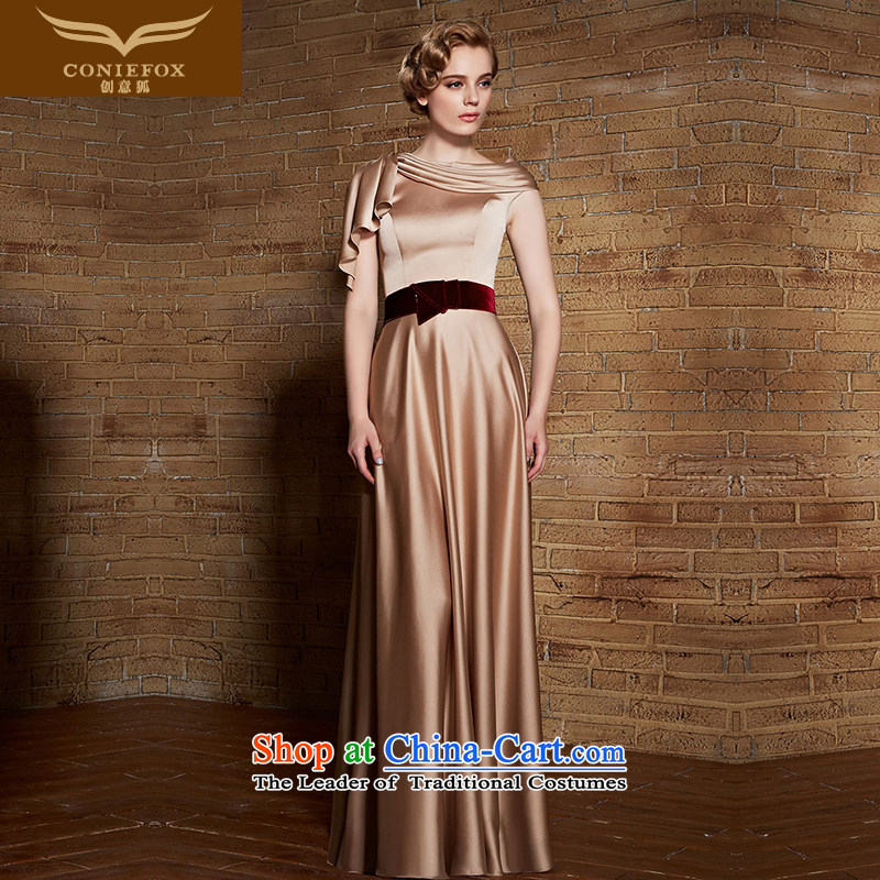 Creative Fox evening dress Top Loin of graphics and slender, dress banquet bride bows dress long skirt gold dress female annual chairpersons evening dress 308.8 apricot?XXL