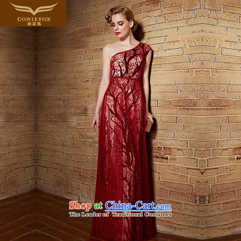 Creative Fox evening dresses?2015 new single shoulder dress sexy red bride wedding dress bridesmaid dress bows service long evening dress 82151 RED?M