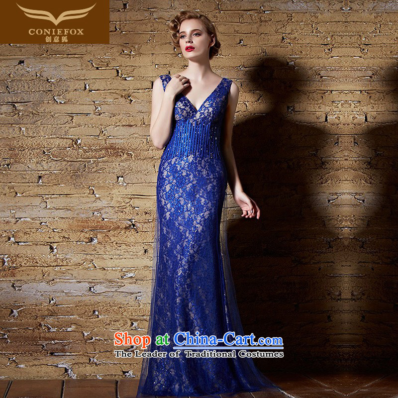 Creative Fox evening dress blue dress crowsfoot dresses classic long to dress model dress exhibition dress annual meeting of persons chairing the dress 30903 blue�L