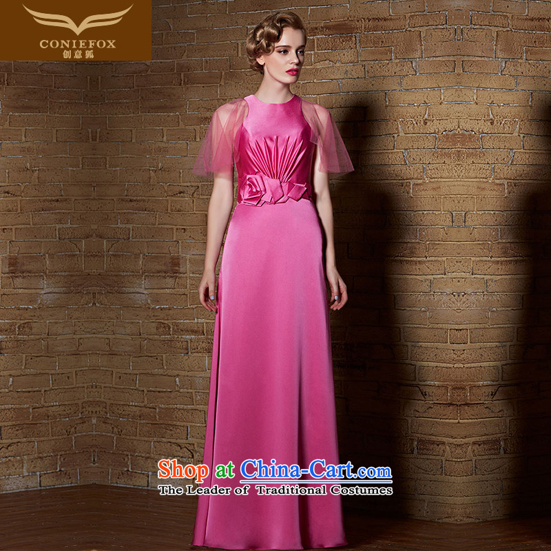 Creative Fox evening dresses?2015 new dresses bows long service video thin bridesmaid evening dress Female dress will reception banquet dress 30906 rose?XL