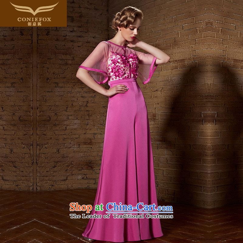 Creative Fox evening dresses�2015 new bridesmaid dress up high-lumbar video thin evening dress bows and elegant wedding dress uniform web long skirt 82125 rose�L