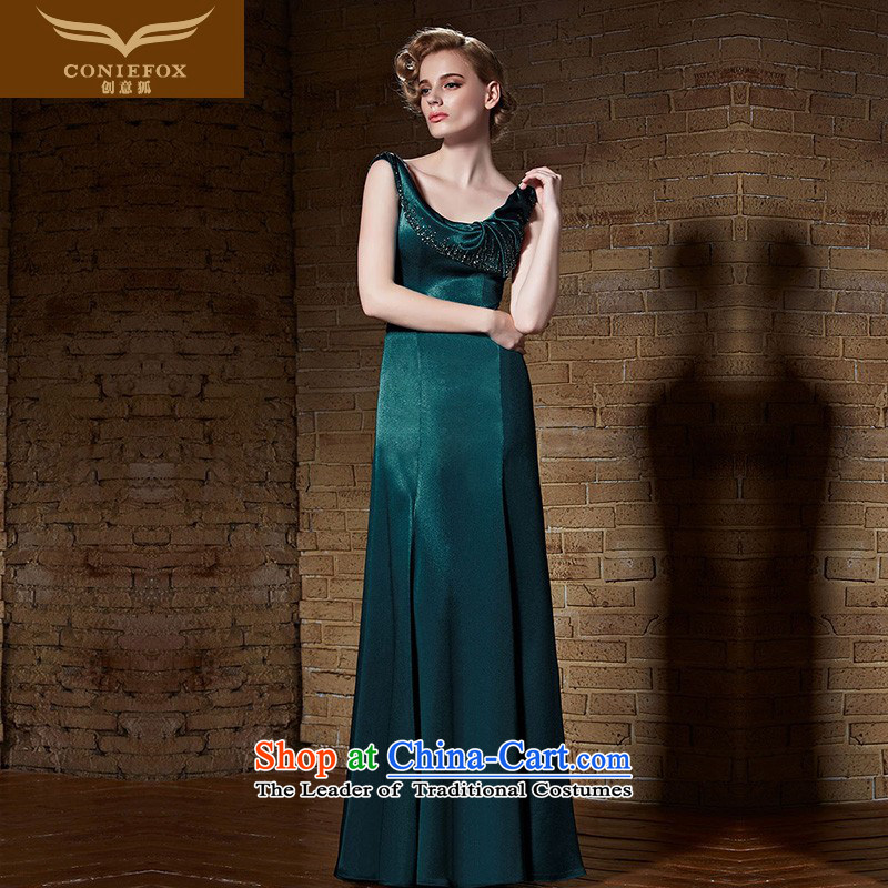 Creative Fox evening dresses�2015 new evening banquet Long Female dress Top Loin video thin dress annual meeting under the auspices of dress model dress 82189 dark green�XL