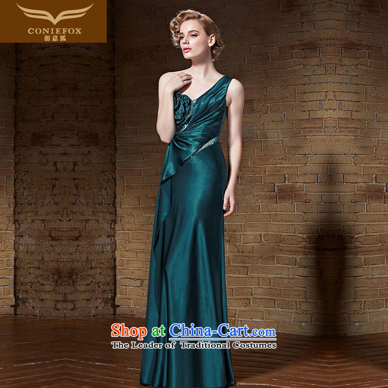 Creative Fox evening dresses�2015 new elegant shoulder dress banquet hosted a reception at the evening dresses performances dress model dress performances long skirt 82,160 were paid dark green�M