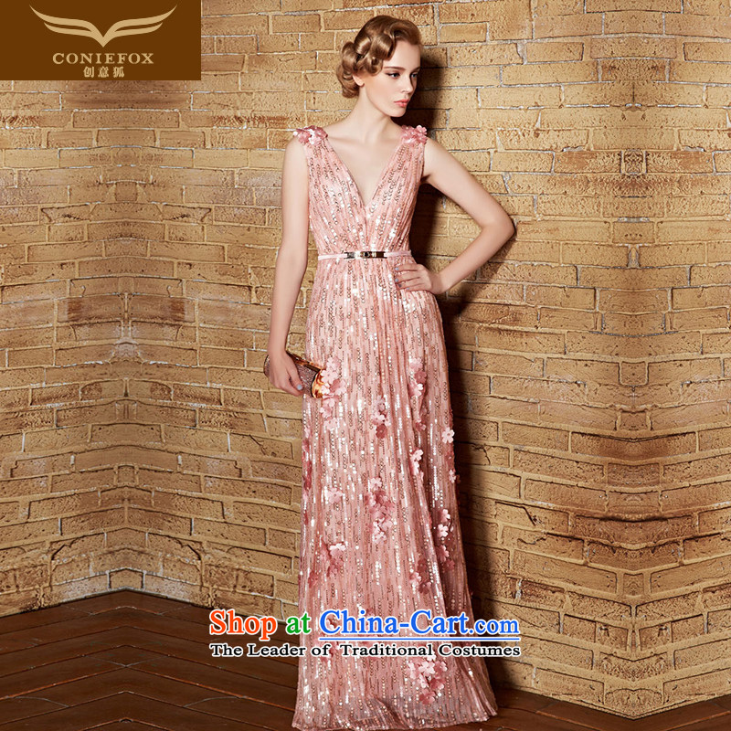 Creative Fox�V-Neck dress long gown evening banquet female bridesmaid dress skirt pink drink service performance dresses marriage annual meeting of persons chairing the dress 30856 pink�L