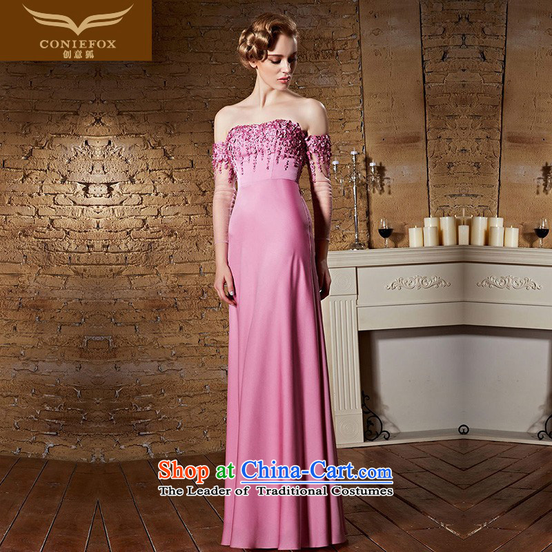 Creative Fox evening dresses pink slotted shoulder bride wedding dress presided over long gown bridesmaid dress uniform stylish wedding guests bows long skirt 30863 pink?M