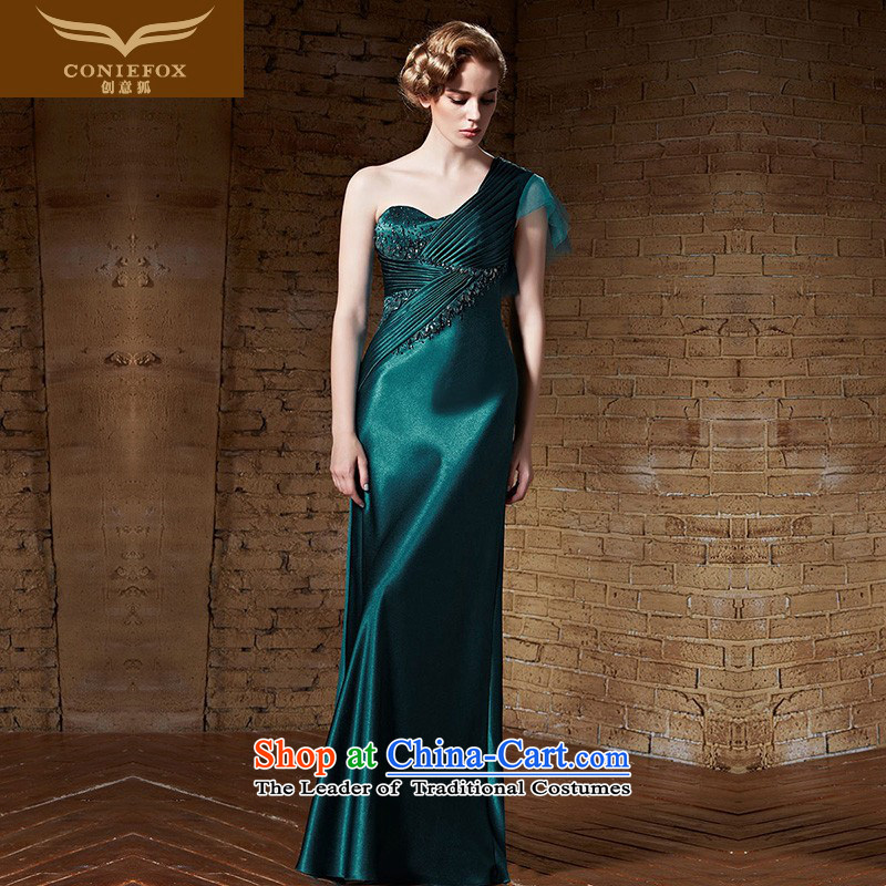 Creative Fox evening dresses�2015 new elegant long single shoulder belt evening dress high service banquet dress annual meeting of the bows of dress long skirt 82163 dark green�M