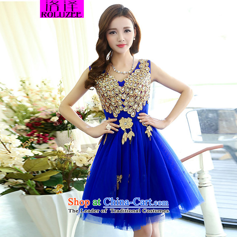Lozet�2015 Spring new women's bride bridesmaid dress stylish peacock patterns of Sau San bon bon skirt dress dresses blue�S
