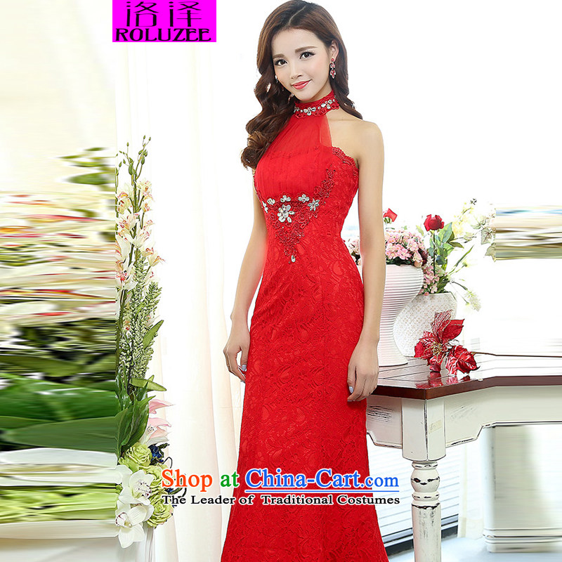 Lozet�Spring 2015 new look elegant wedding dresses bare shoulders Sau San skirt long skirt dress red�XL