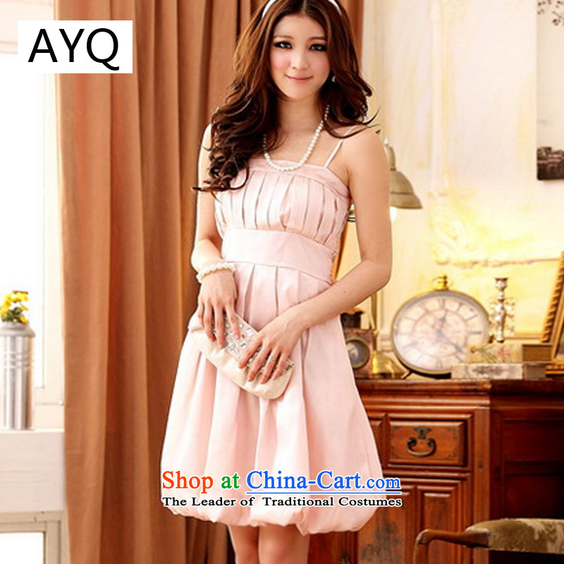 Hiv has been qi thick MM evening dresses Korean spring and summer load Princess Dinner lanterns skirt pinch small dress large lifting strap dresses聽11658-1聽pink聽XL