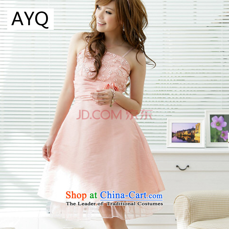 Hiv has been qi spring and summer stylish Sweet large lifting strap dress bridesmaid dress dinner dress?1174-2?pink are code