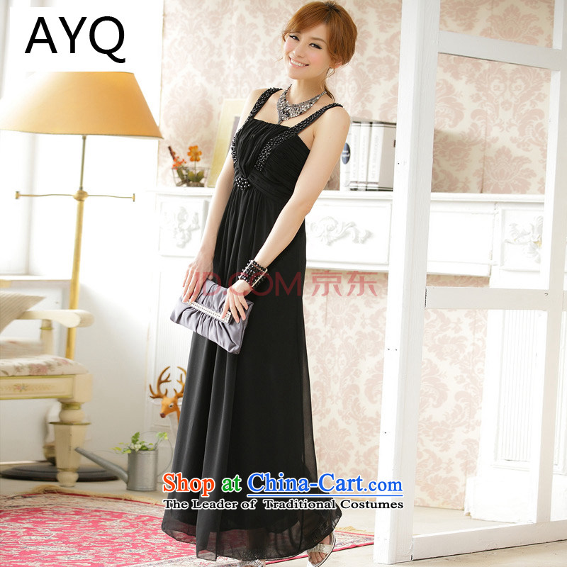 Hiv has been qi spring and summer slips chiffon skirt larger female-long gown dresses manually staple pearl bridesmaid long skirt?9601A-1??XXXL black