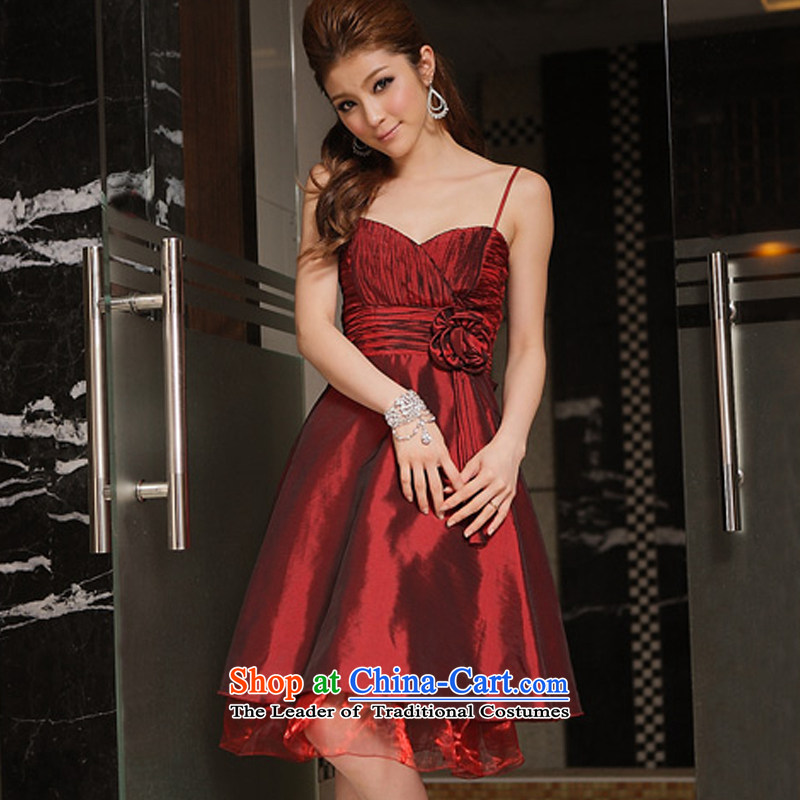 Hiv has been qi sexy V-Neck obsessed with moving arc feature pinch done manually take dress strap dresses and sisters bridesmaid skirt 8341-1  XXL, aubergine HIV has been qi (aiyaqi) , , , shopping on the Internet