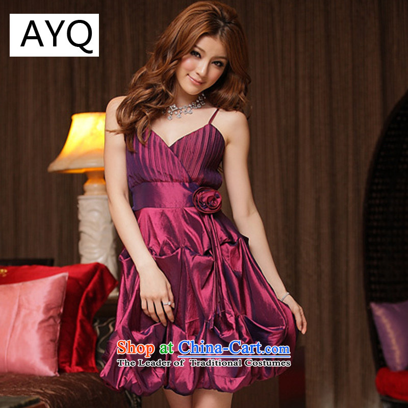 Hiv has been the lifting strap qi pressure folds lanterns dresses sweet aristocratic pure color evening dress聽8348-1聽Magenta聽XL