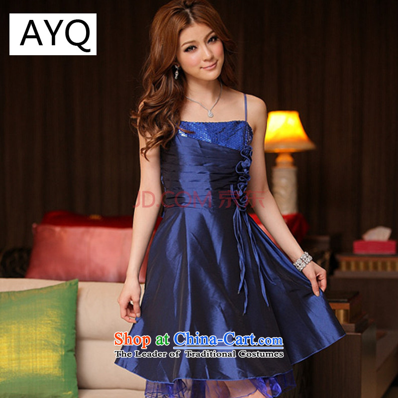 Hiv has been quiet beautiful Korean Qi on chip pinch of manual blossom dress dresses XL?8130-1??XXXL blue