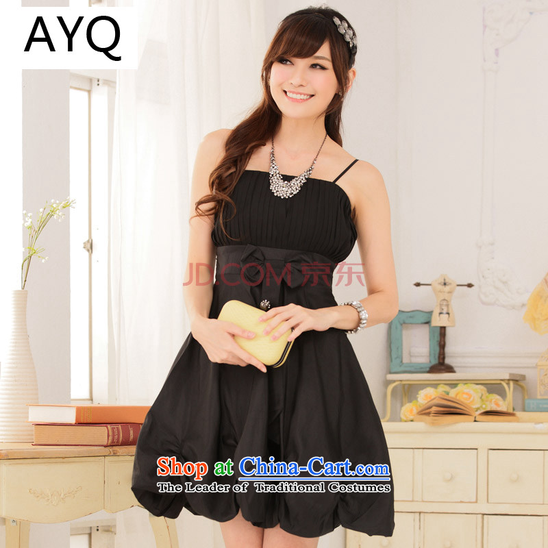 Hiv has been serving bridesmaid qi irrepressible Princess Soo-pressure folds Foutune of lanterns skirt straps dress dresses?9116A-1??XXXL black