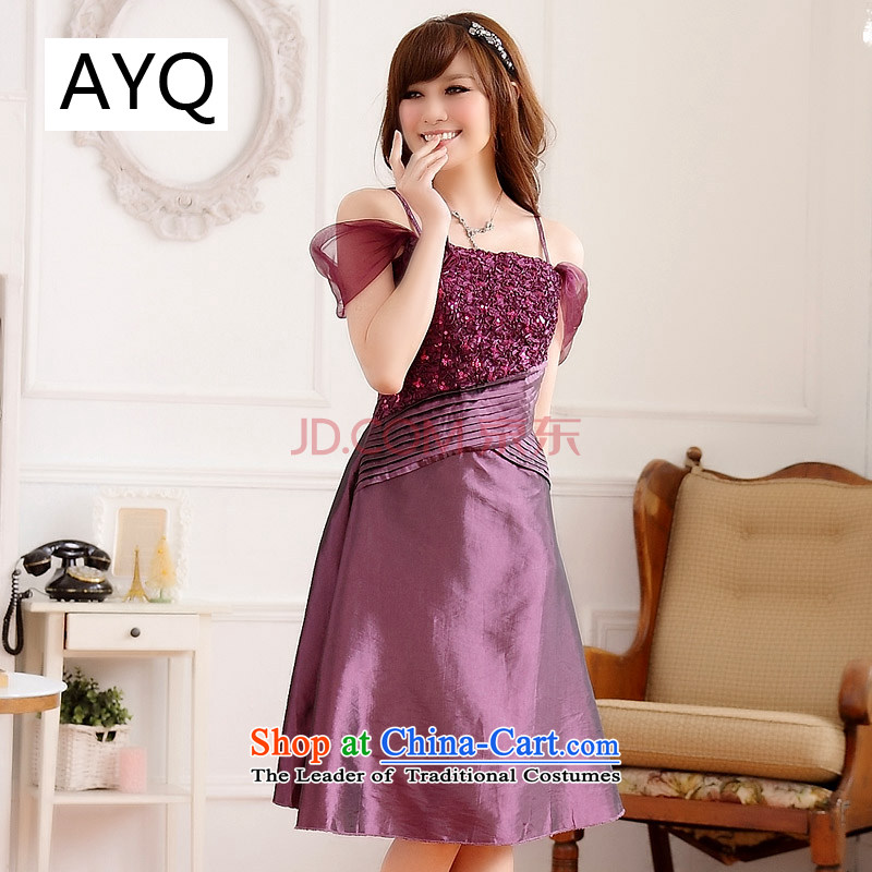 Hiv has large qi evening dresses new summer bare shoulders video thin dresses thick mm slips evening dress (removable)�9222A-1��XXXL Purple