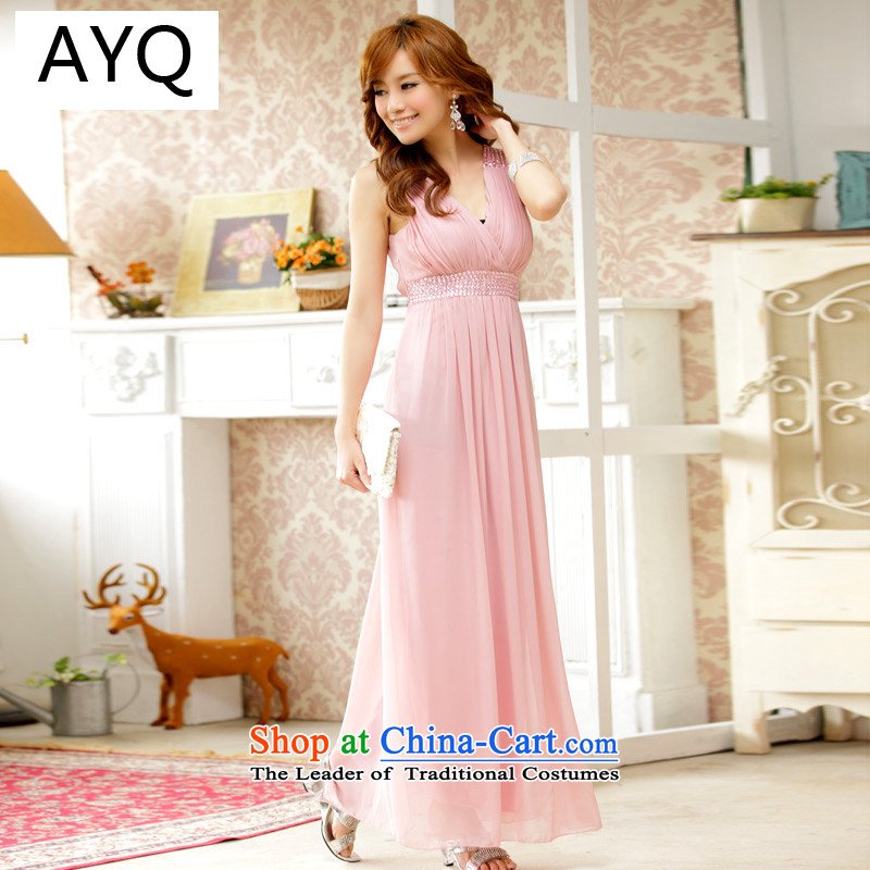 Hiv has been Qi Western Wind package annual dress chest dresses strap dresses bridesmaid chiffon skirt?9602A-1 services?Pink?XXXL