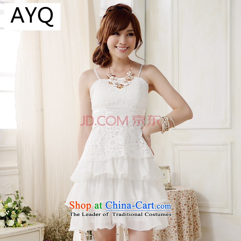 Hiv has large Qi's sweet lace straps princess skirt dinner appointment cake adult small dress dresses�9909A-1�White�XL