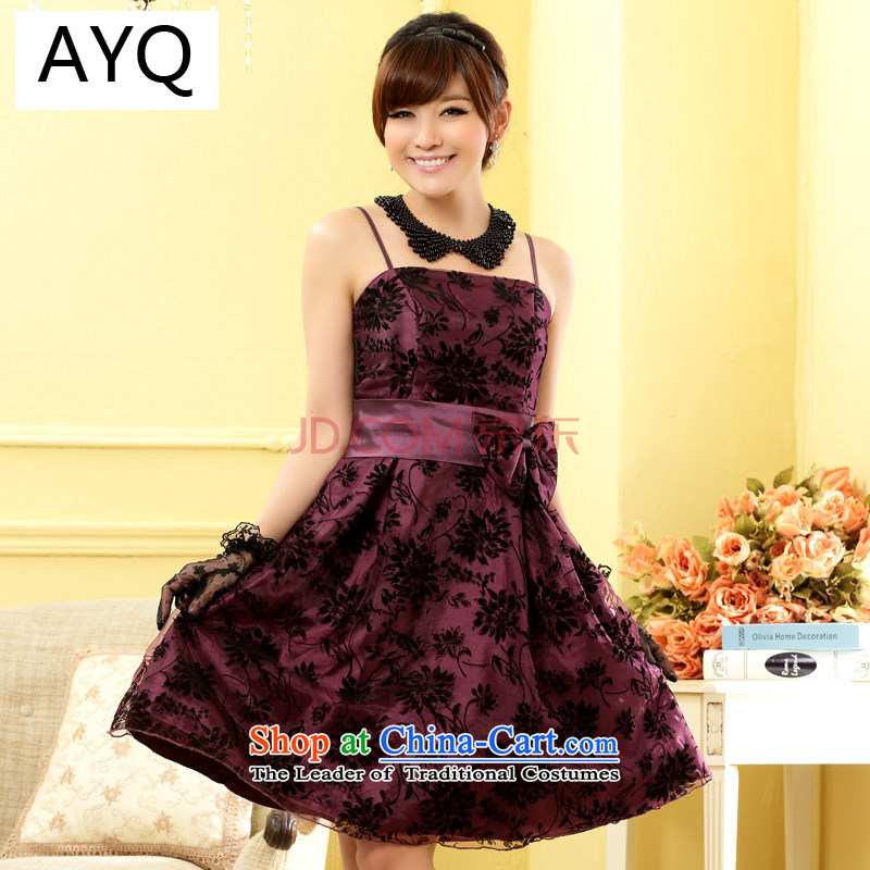 Hiv has been short of qi strap dress code video thin skirt large elegant evening dresses evening dress bridesmaid skirt聽9705A-1聽PURPLE聽XL