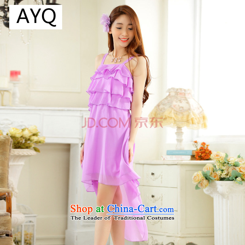Hiv has been qi larger female stylish dovetail skirt chiffon niba straps sister skirt dress dresses 9922A-1 PURPLE XL